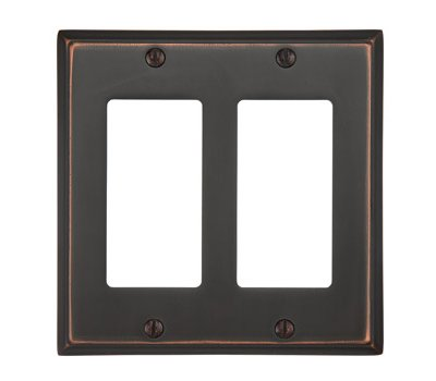 Double Gang Colonial Switch Plate - Brass Collection by Emtek