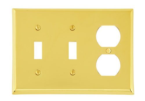 Double Toggle Single Duplex Colonial Switch Plate - Brass Collection by Emtek