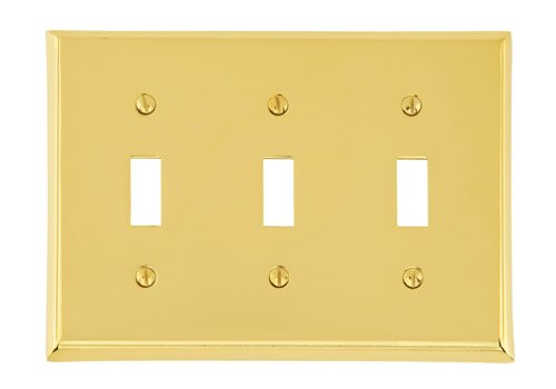 Triple Toggle Colonial Switch Plate - Brass Collection by Emtek