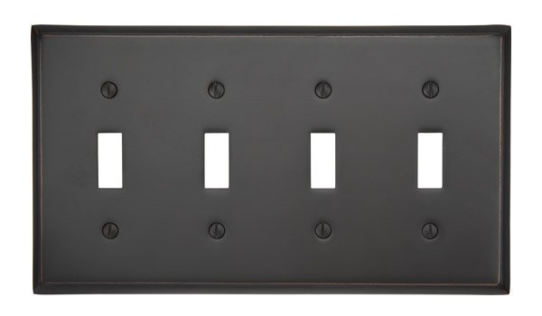 Quad Toggle Colonial Switch Plate - Brass Collection by Emtek